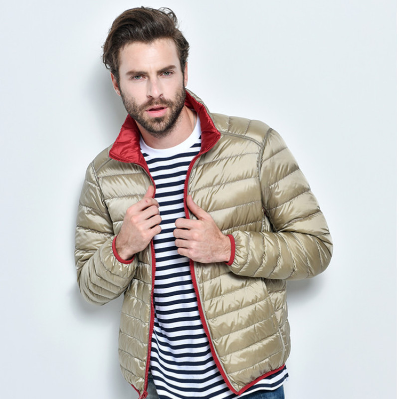 2019 New Men ultraLight 90% White Duck Down Jacket Warm Jacket Line Portable Package men pack jacketMen Two Side male jackets
