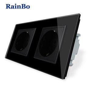 Image 3 - RainBo EU Power Wall Socket Standard Power Socket Glass Panel AC Wall Power smart outlet A28E8EW/B