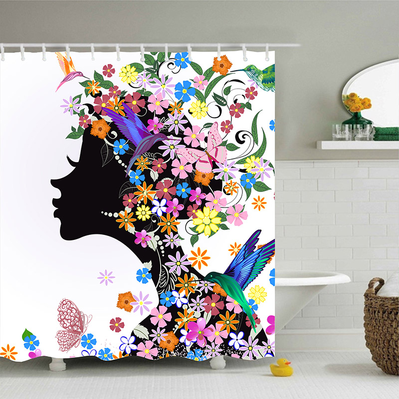 Color butterfly flower girl art painting Bath Waterproof 3D Polyester Fabric Shower Curtain with 12 Hooks For Bathroom Decor