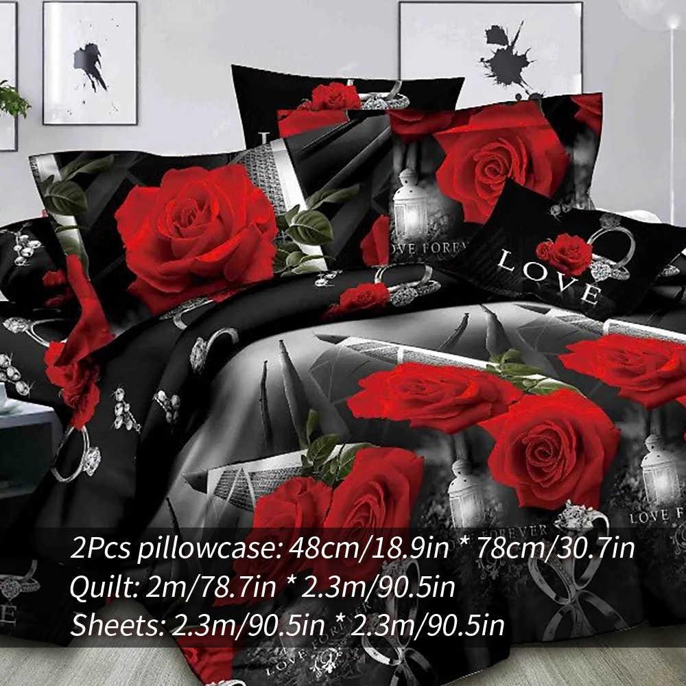 DIDIHOU 3/4 sztuk nadruk z różą luksusowe łóżko pościel dla poszewka na kołdrę zestaw poszewka z kwiatem na poduszkę pościel tekstylia domowe dekoracja pokoju