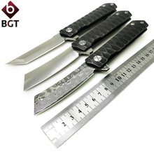 BGT Steel Tactical Folding Knife D2 / Damascus Blade Camping Hunting Combat Flipper Pocket Knives Survival EDC Rescue Tools bgt tactical combat folding knives d2 blade g10 handle pocket survival camping knife outdoor hiking hunting rescue edc tools
