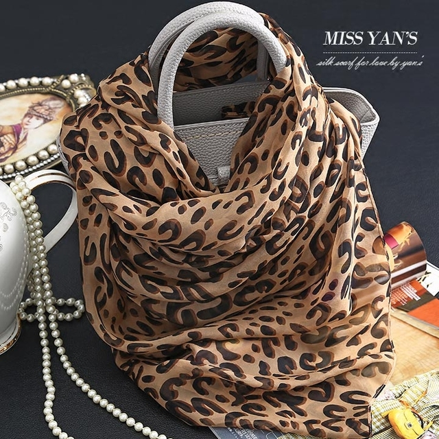 Genuine Silk Women Scarf Fashion Classic ink Leopard Print Scarves Summer Autumn Winter Good Quality Necklace Shawl