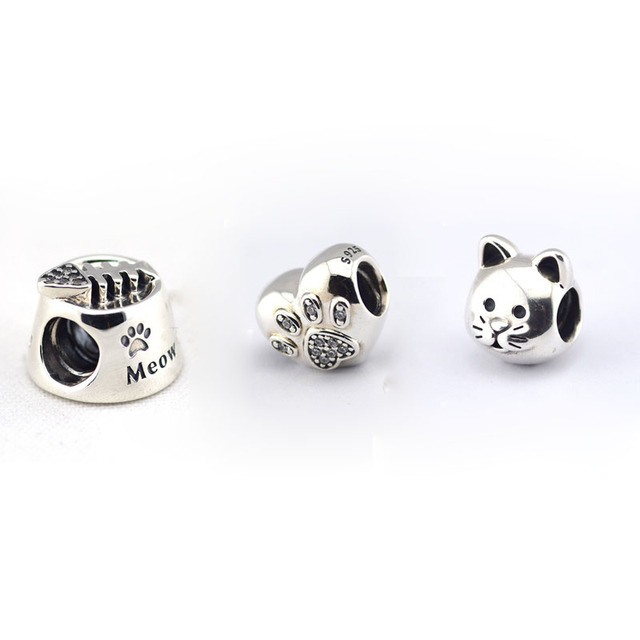 3pcs Curious Cat Charms Fits Pandora Bracelets 100% 925 Sterling Silver Paw Prints Animals Beads Women Jewelry with Charm Box