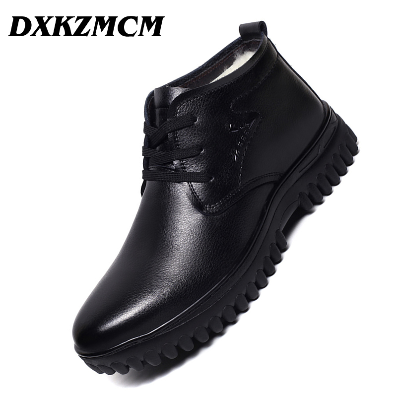 DXKZMCM Handmade Men Genuine Leather Winter Boots Wool Warm Snow Men Boots Ankle Boots For Men Business Dress Shoes elevator shoes taller 2 56 inch winter genuine leather men boots fashion warm wool ankle boots men snow boots shoes hot sale