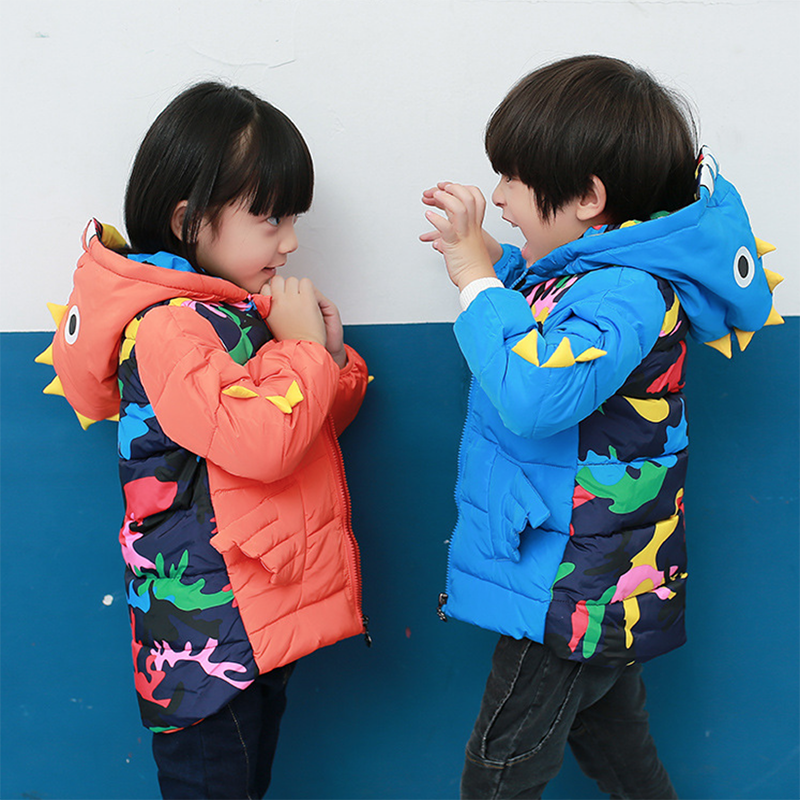 Boys and girls cartoon dinosaur pattern jacket winter new children's clothing for men and down jacket children coat baby