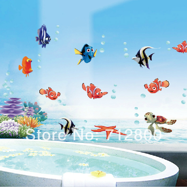Fish Bubble Removable 3d Wallpaper On Walls Bathroom Decor Decoration Wall Stickers For Children