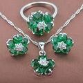Довольно Зеленый полудрагоценный Камень женщин Серебряные Ювелирные Изделия Устанавливает Ожерелье Серьги Кольца Бесплатная Доставка TS012