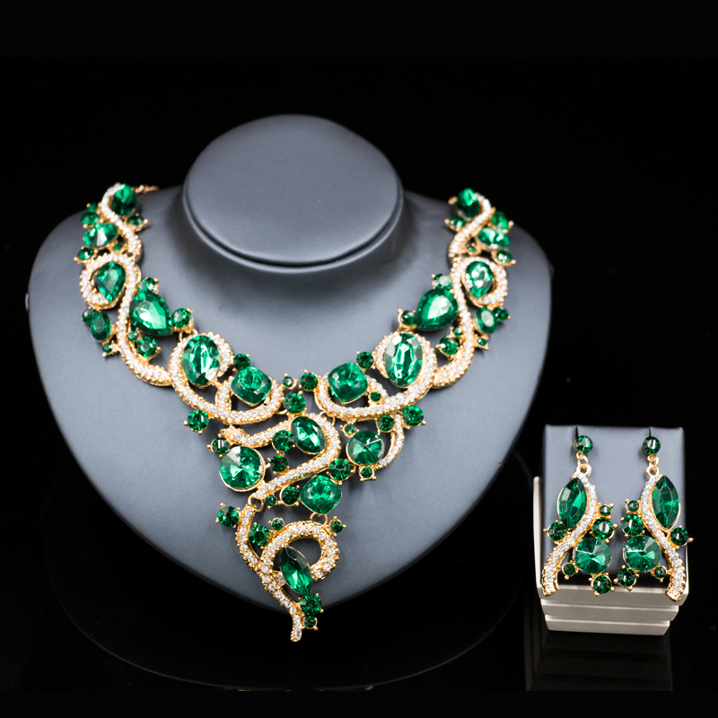 New  Fashion jewelry dubai gold plated necklace and earrings jewelry sets six colors african wedding jewelry free shipping