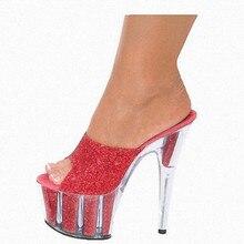15cm Ultra High Heel Thin Heels Flash Powder Crystal Slippers Fashion Walk Show Model Summer Bride Women's Shoes SJ0007 цена