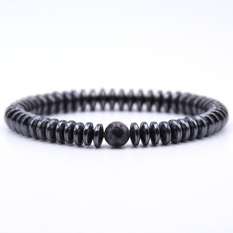 NIUYITID Hematite Bracelet Men\` Jewelry European Fashion Elastic Rope Braclet Women Accessories Charm High Quality (6)