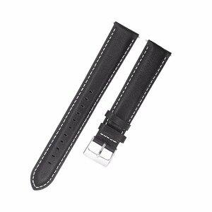 Image 4 - Correa de reloj de cuero genuino italiano, banda de reloj de 18mm, 20mm, 22mm y 24mm, correa de reloj negra y marrón claro, Correa Extra larga para muñeca grande
