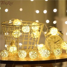 FENGRISE Christmas Decoration for Home Garden Rattan Ball LED Lights Tree Ornaments Light Outdoor Pendant
