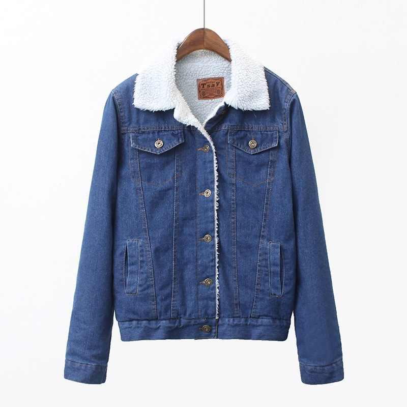 Джинсовая плюс бархатная куртка женская 2019 осенняя и зимняя одежда корейский стиль Свободные Толстые женские пальто CX001