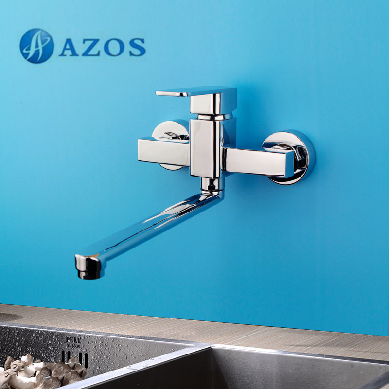 AZOS Kitchen Sink Tap Brass Single Hole Chrome Polish Wall Mount Hot Cold Water Mixer Washing Furnitures CFLR013 china sanitary ware chrome wall mount thermostatic water tap water saver thermostatic shower faucet
