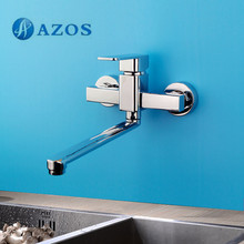 AZOS Kitchen Sink Tap Brass Single Hole Chrome Polish Wall Mount Hot Cold Water Mixer Washing Furnitures CFLR013