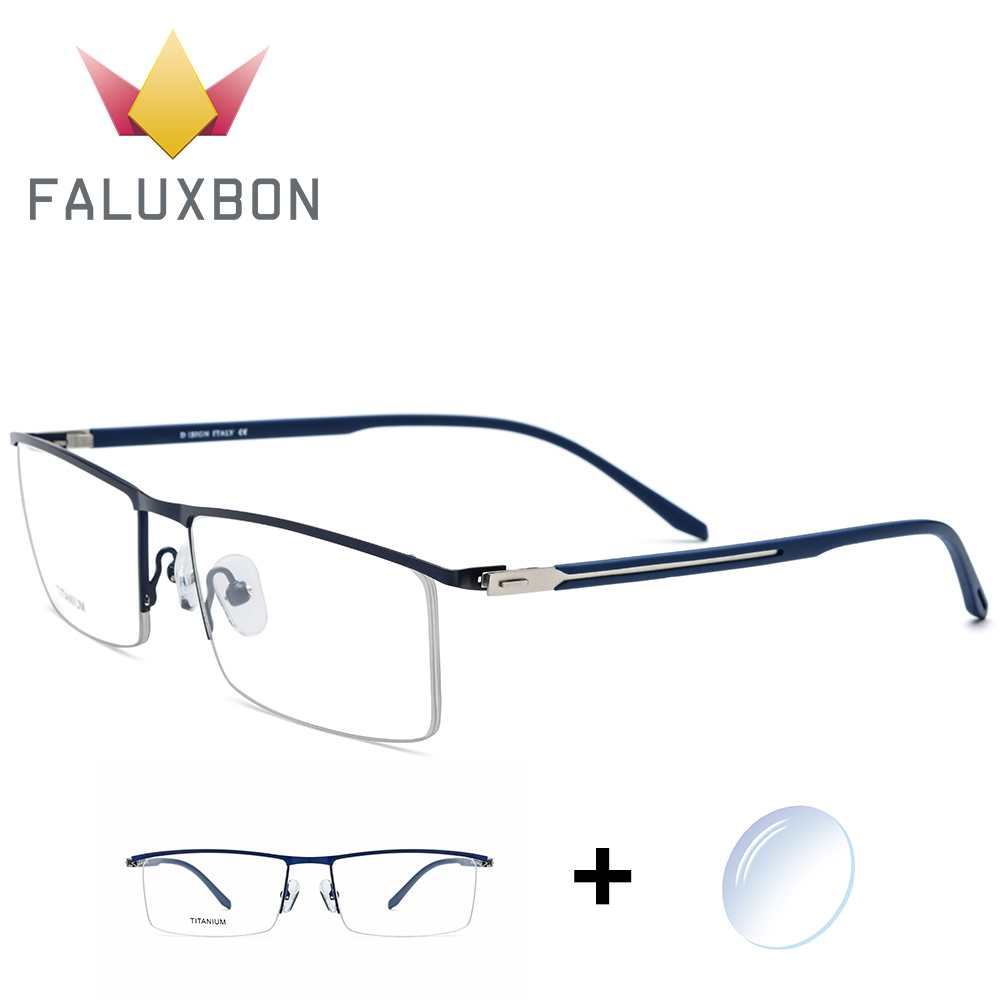 Titanium Alloy Optical Myopia Eyeglasses Men Rectangle Transparent Prescription Glasses 2019 Anti Blue Light Spectacles Brand