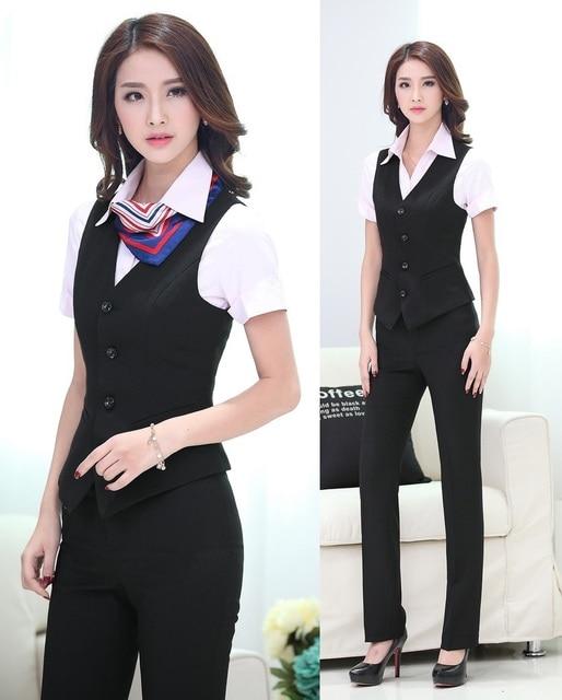 Nueva primavera verano 2015 Formal estilo uniforme trajes de pantalones chaleco y pantalones de oficina trajes del desgaste del trabajo damas mujer ropa de tamaño extra grande