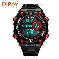 DIRAY Associação Da Juventude Esportes relógio à prova d' água luminosa multifuncional relógio eletrônico e relógio do menino personalidade dos alunos