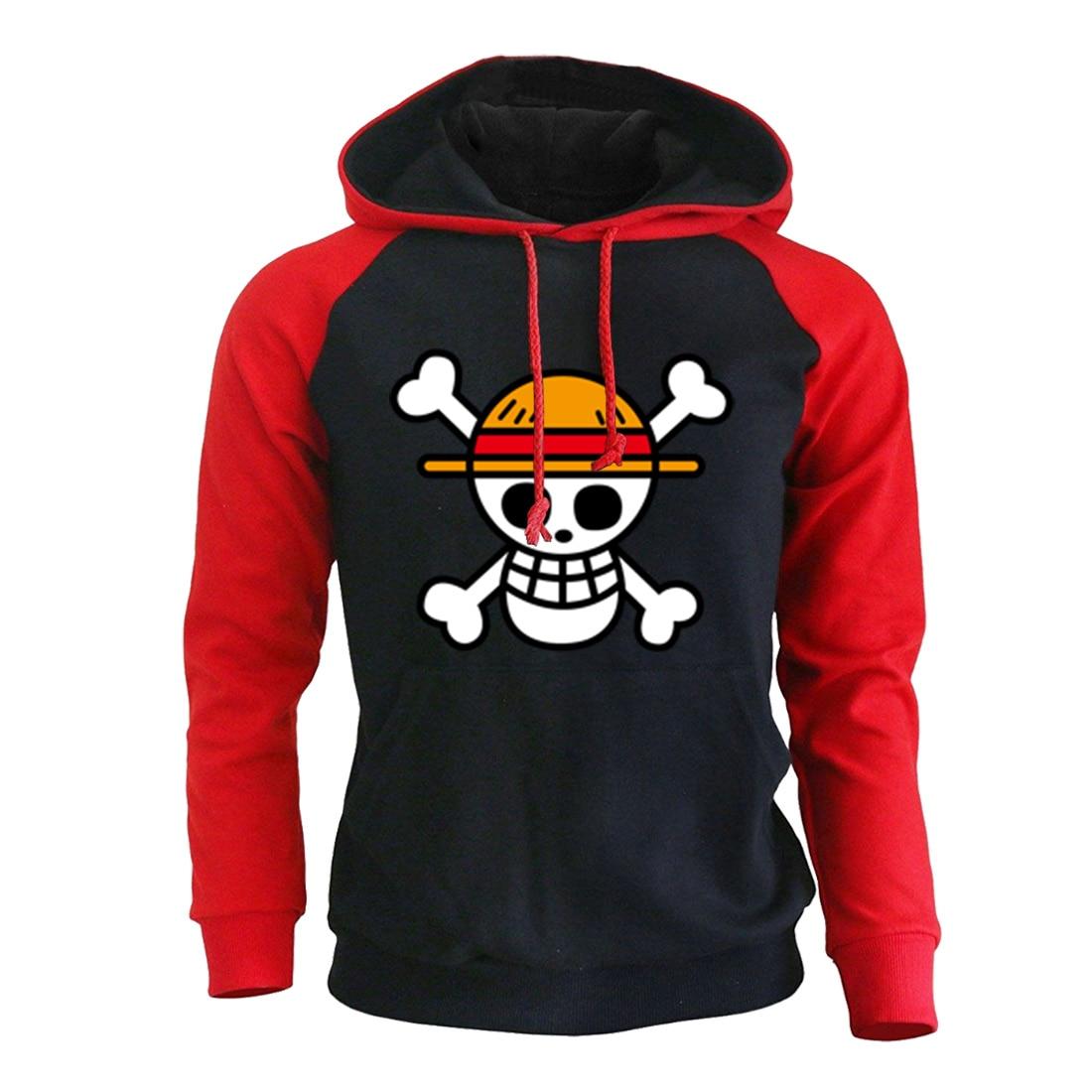 One Piece Luffy Cartoon Print Hoodie Sweatshirts 2019 Autumn Winter Men Hoodies With Cap Anime Harajuke Men's Hoody Pullover