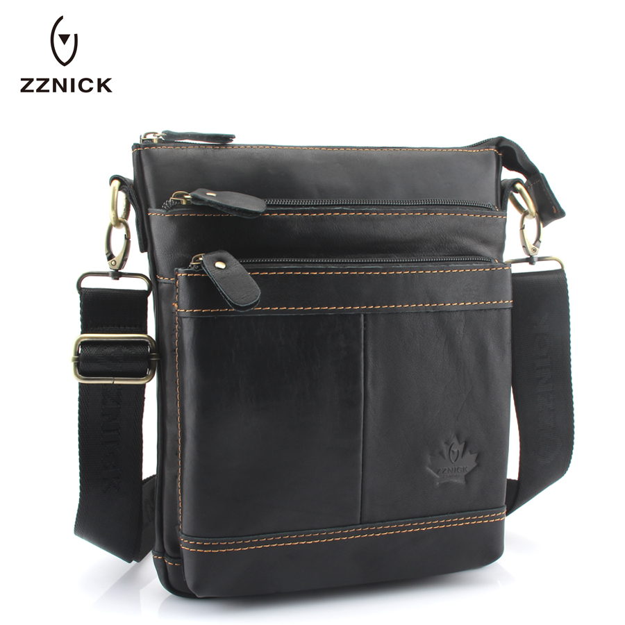 ZZNICK 2018 Men briefcase Bag Genuine Leather Man Crossbody Shoulder Bag Small Business Bags Male Messenger Leather Bags