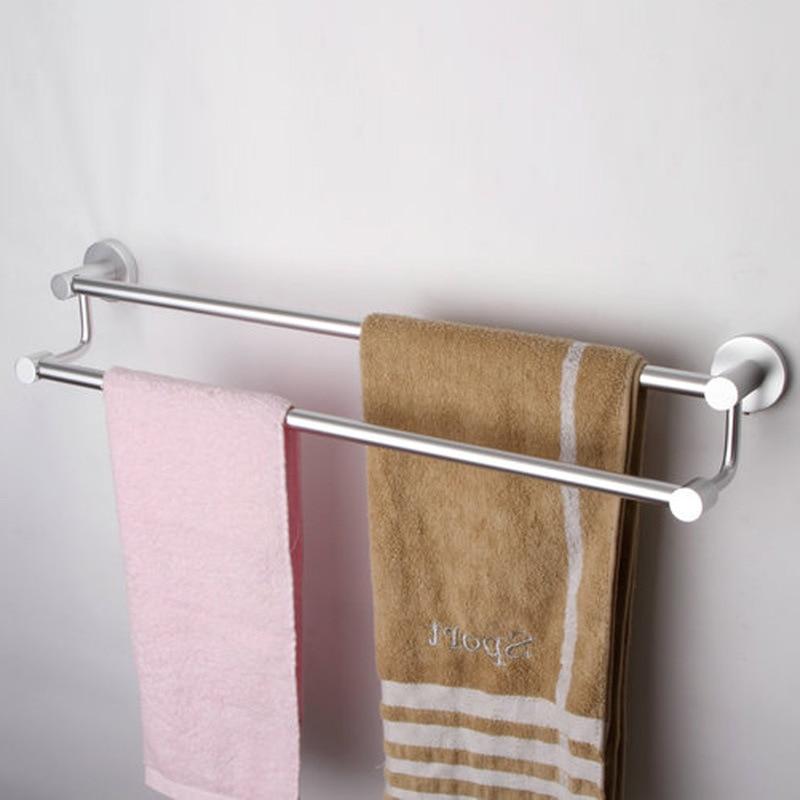 ФОТО Aothpher Mental Aluminum 60CM Wall-Mounted Bathroom Towel Holders Towel Bars Towels  Hanger Double Towel Bar For Bathroom