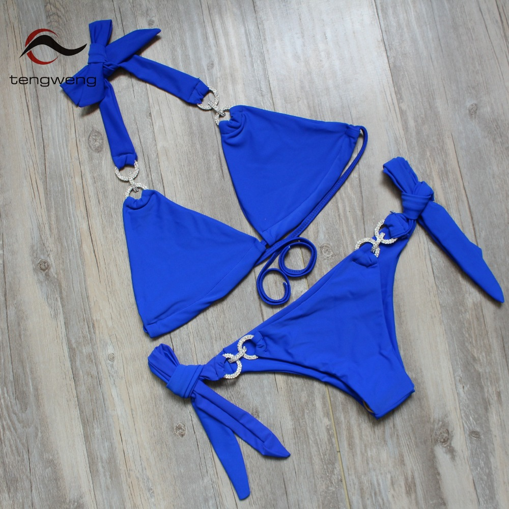 Tengweng 2018 New Crystal Swimsuit Bikini Rhinestone Swimwear Women Sexy Swimsuit Big size 2 piece Female Brazilian Bathing suit 5