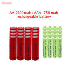20 pcs red AA 2300mAh Ni-MH Rechargeable Batteries + 20 pcs AAA 750mAh Rechargeable Batteries panasonic 1 2v 1900mah ni mh rechargeable aa batteries white blue 4 pcs