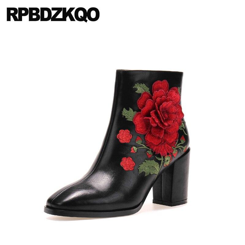 Zip Frauen Chunky Bestickte Schwarzes Leder Schuhe Seite Karree Hohe Handgemachte Stickerei Schwarze Echtes Ankle Stiefel Ferse Blume Winter wvIOqwx0