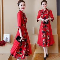 2017 Winter Chinese Traditional Dress Embroidery Lace Cheongsam Women Round Collar Qipao Chinese Traditional Dress Wedding