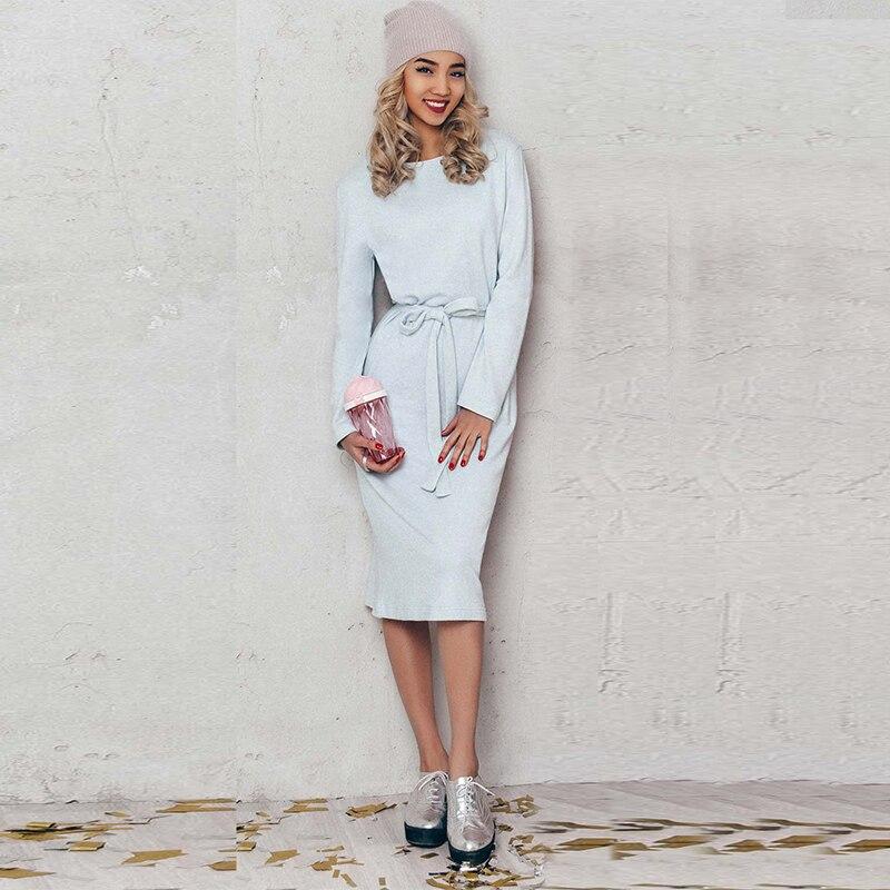 2017 Women Autumn Winter Dress Long Sleeve High Waist Mid-Calf Waist Belted O-Neck Straight Line Causal Dress Vestidos