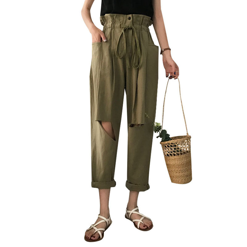 Fashion Ripped Holes Wide Leg Pants Women Summer High Waist Trousers Streetwear Casual Pants Capris Female in Pants amp Capris from Women 39 s Clothing