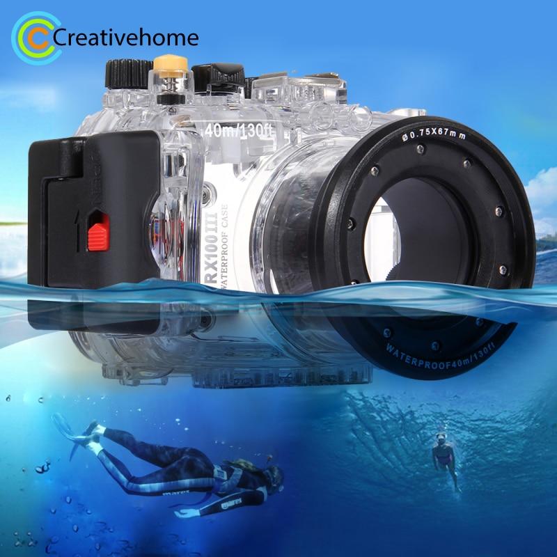 For Sony RX100 III Case Waterproof 60m/195FT Underwater Depth Diving Case Waterproof Camera Housing for Sony RX100 III Accessori 60m 195ft waterproof underwater camera housing diving case for sony dsc rx100 ii rx100m2 rx100 mark2