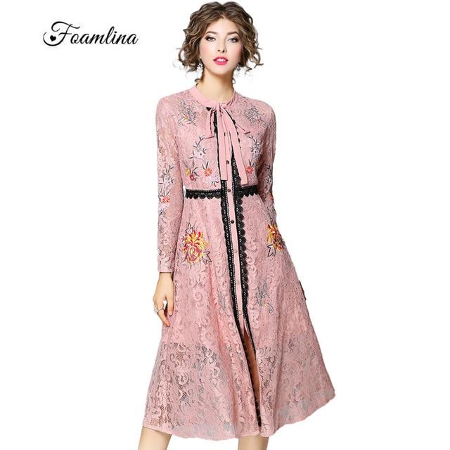 Foamlina Runway Marca Vestido de Las Mujeres del Otoño de Flores de ...