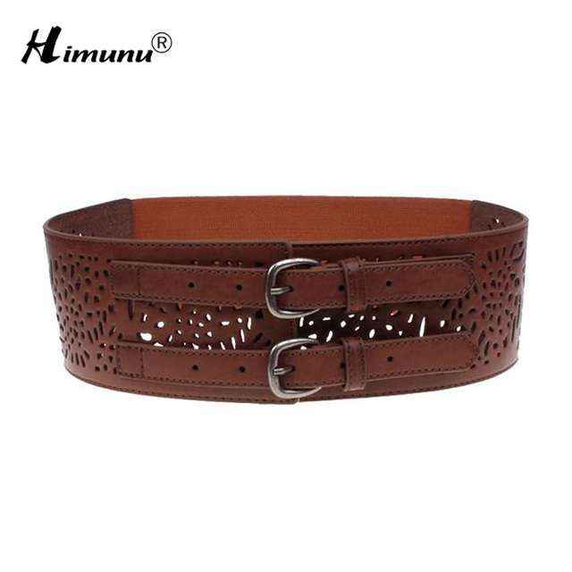 New Lady Wide Hollow Out Genuine Leather Belt for Women Fashion Double Row Metal Pin Buckle Women Belt