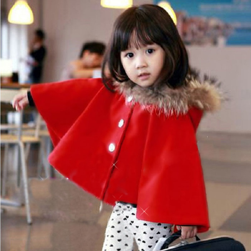 Winter Baby Girls Coat Poncho Hooded Batwing Toddler Plus Thick Velvet Girl Clothing Solid Jacket Cape