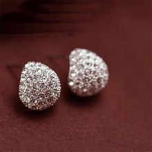 Fashion 1 Pair Women Elegant Charming New Crystal Crescent Wholesale Ear Stud Earrings Jewelry Gift Boucle D'oreille Brincos(China)