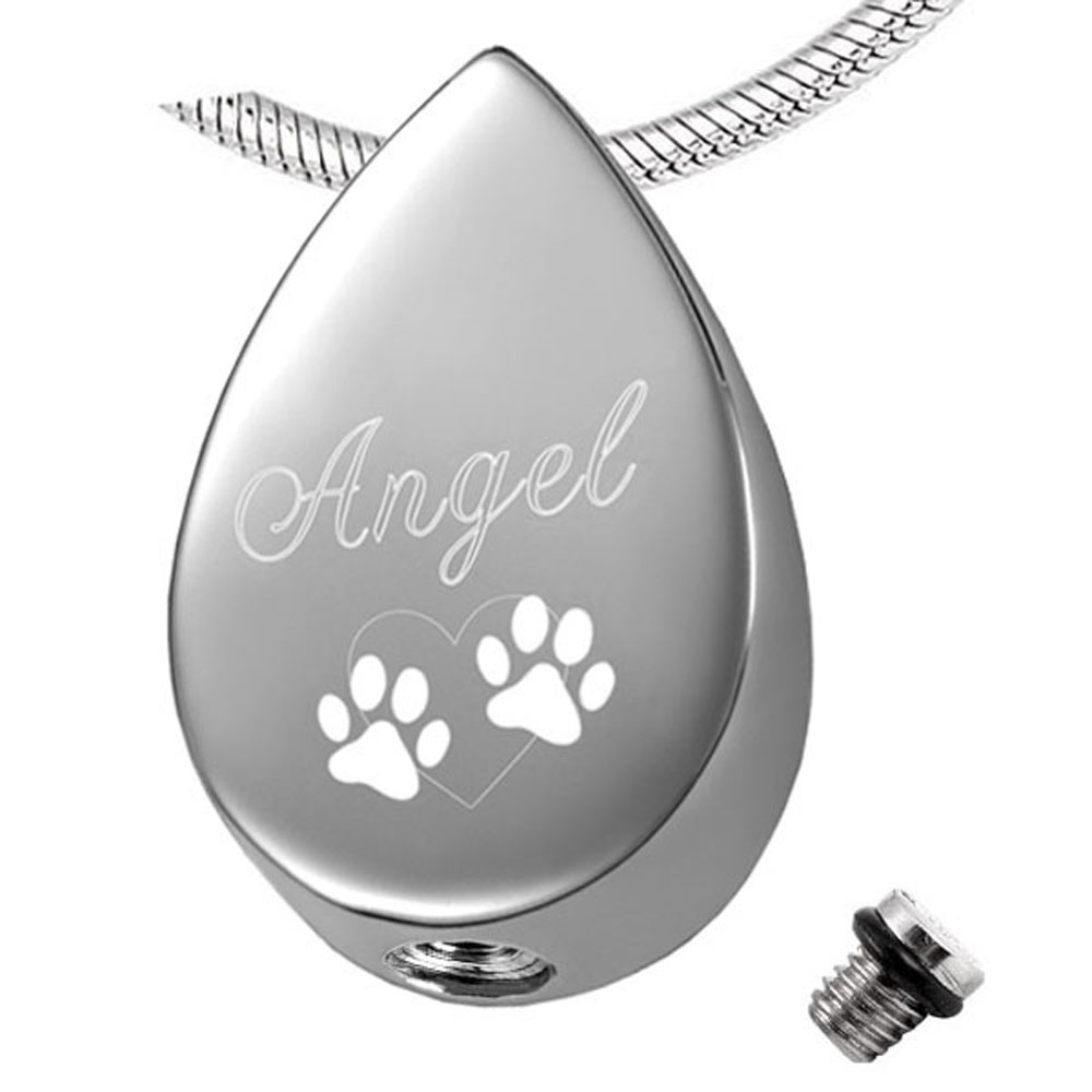 IJD19137 Stainless Steel Water Drop Pet Dog&Cat Ash Jewelry Charm Design Women Necklace Cremation Urns Ashes Cheap Sale
