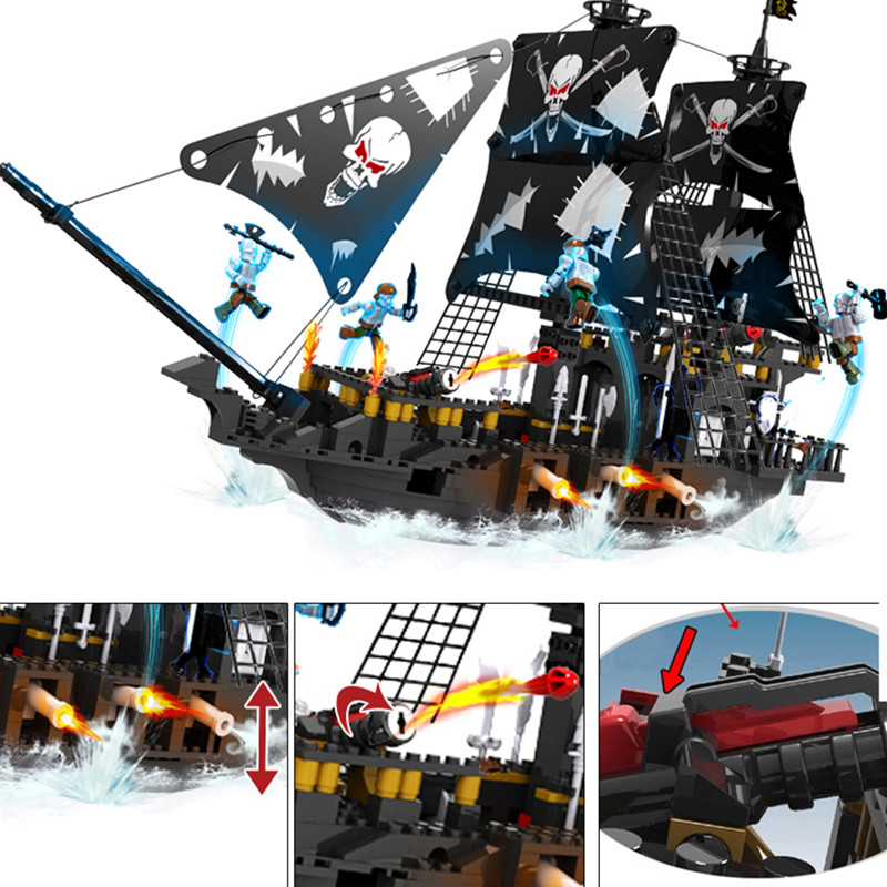Caribbean Warship Pirates of the Caribbean Black Pearl Ship Ghost Ship large Models Building Blocks educational Birthday Gift plush cute seal pillow stuffed cotton soft animal toy 30cm small gift for kids