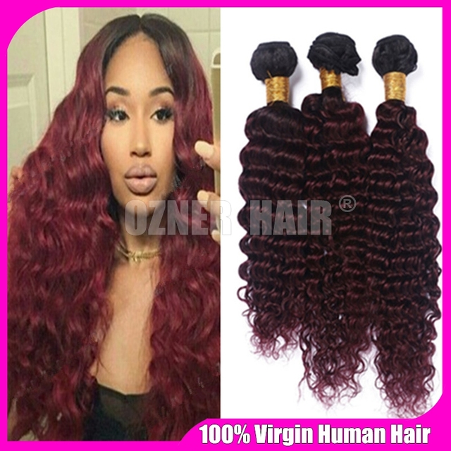 Wine Red Ombre Malaysian Human Hair Extensions Two Tone 1b99j