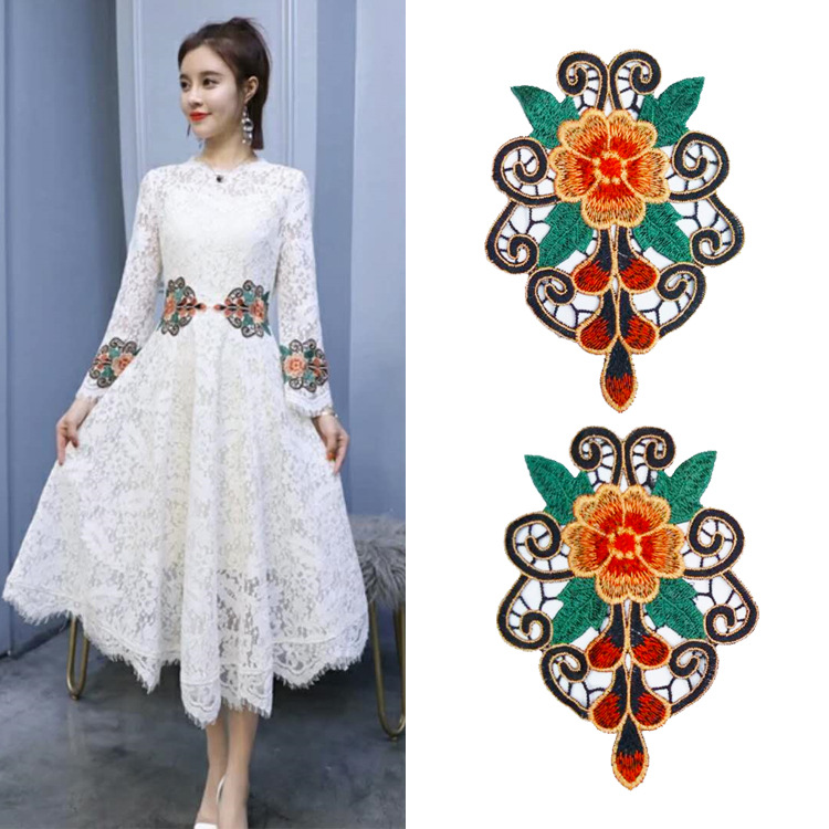 Clothing Accessories Fashion Embroidery Lace Cloth Stickers Flower Clothes Patch Water Soluble Color Symmetry