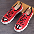 2017 sping men's fashion leather shoe british round head men casual flats strappy male flat loafers red black grey shoes us 8.5