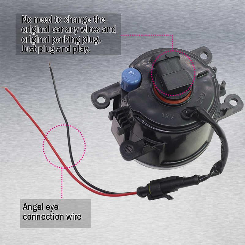 Cawanerl For Opel Movano 2000-2010 Car Accessories 4000LM LED Bulb H11 Fog Light Angel Eye Daytime Running Light DRL 12V