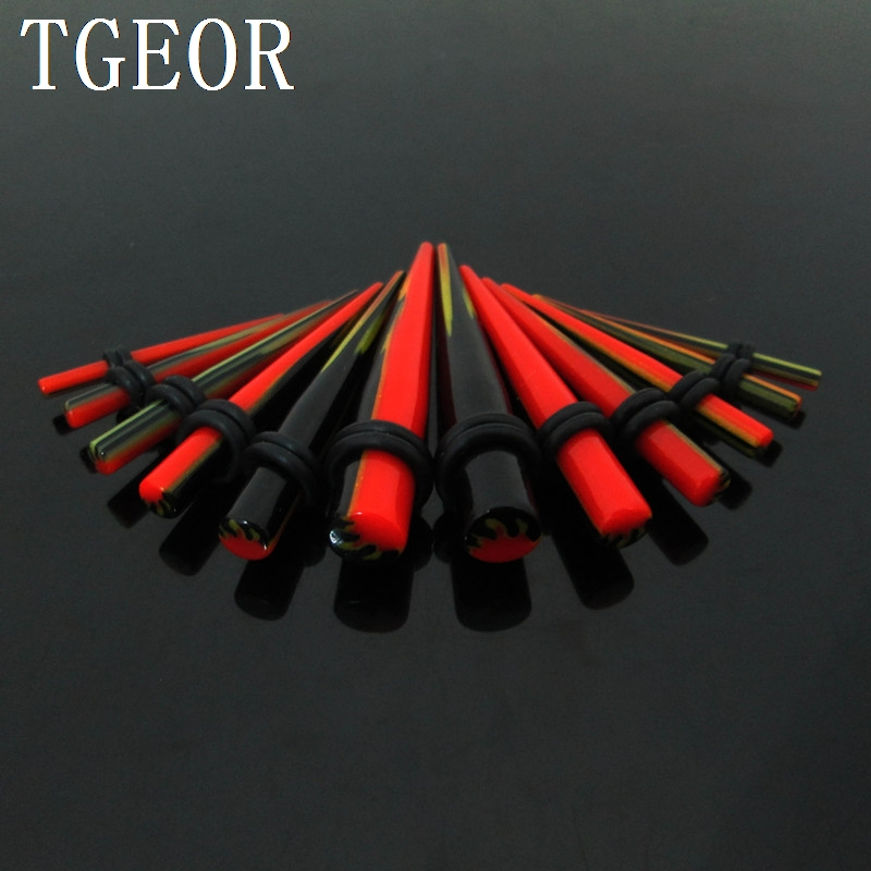 Free shipping wholesale acrylic piercing ear taper 12pcs mixed 6 gauges flame print straight ear expander