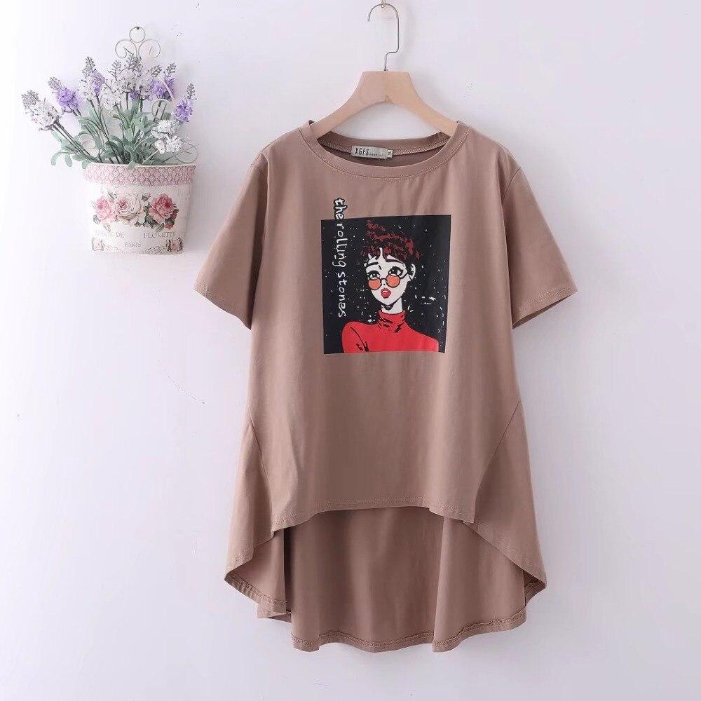 Plus size short Sleeve loose women t shirt 2018 gray   Khaki   brown print  cotton t shirt women tops tshirt summer tee shirt 6XL-in T-Shirts from  Women s ... e1378fc0f681