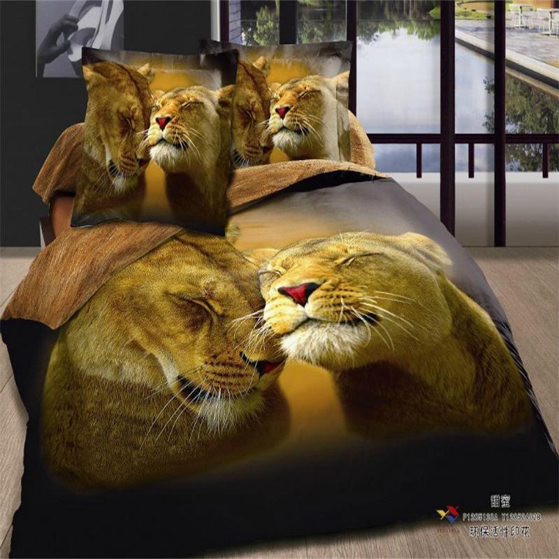 3D Animal heureux Couple Lion ensemble de literie reine taille 100% coton maison Textiles housse de couette ensemble/drap de lit/taie d'oreiller en vente