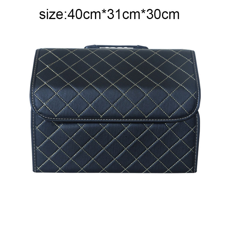 Car Trunk Box font b Storage b font Bag Organizer Foldable Multi use PU Leather Car
