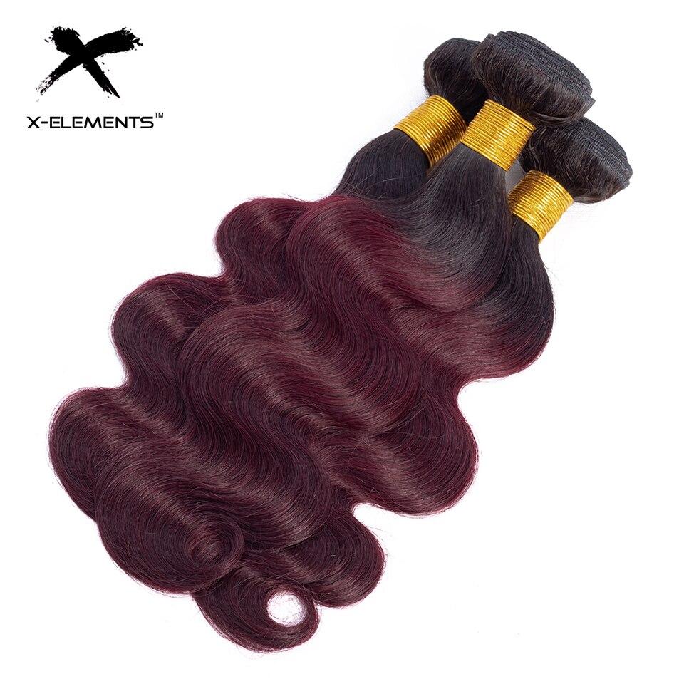 X-Elements Ombre Brazilian Body Wave Hair Bundles T1B Red T1B 30 T1B Burgundy Ombre Human Hair Extensions Two Tones Hair Weave Bundles (22)
