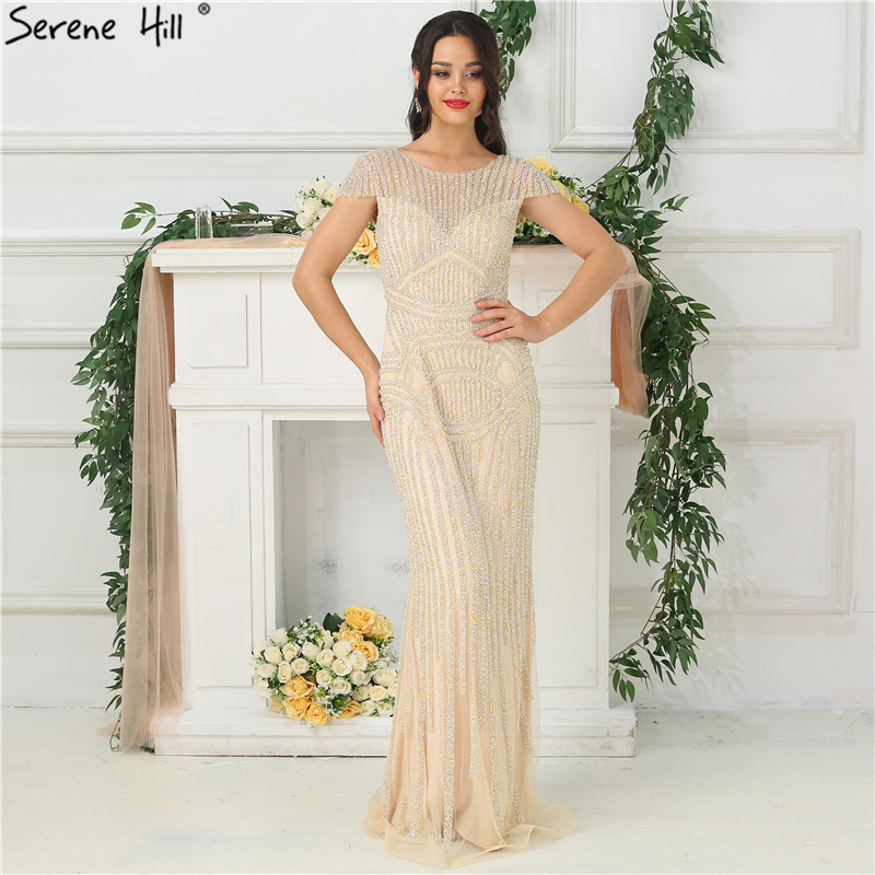 Dubai Design Nude Sleeveless Luxury Evening Dresses 2019 Beading Pearls Sexy  Evening Gowns For Women Real 3dd143a1d712