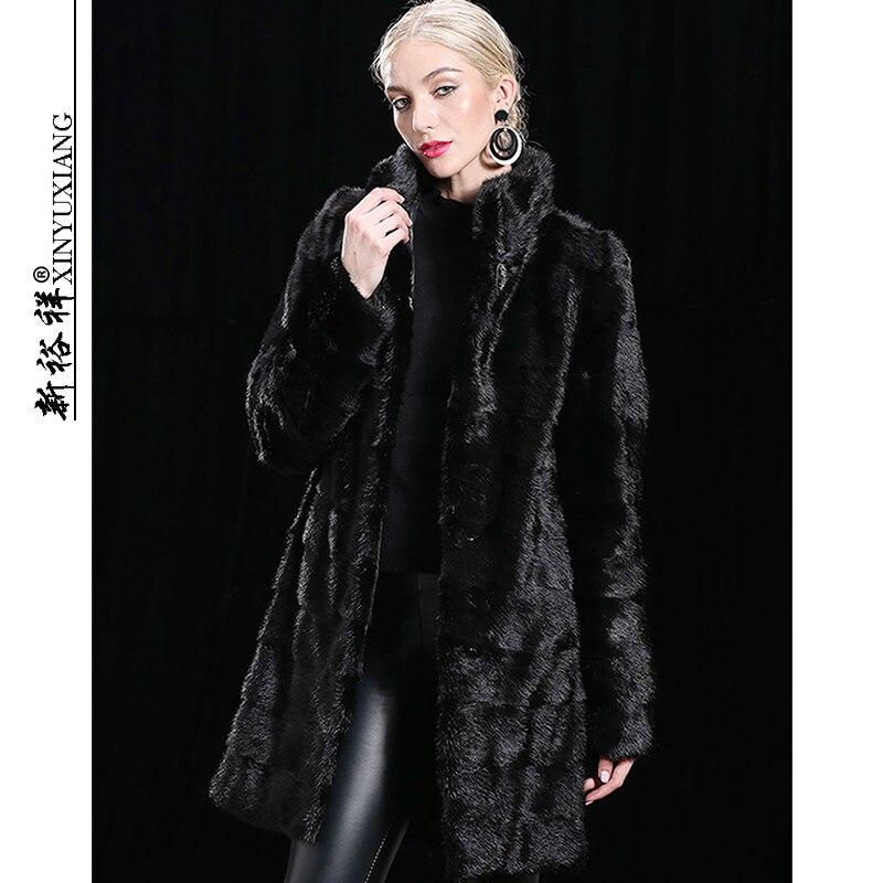 XINYUXIANG Съемный натуральный норковый мех пальто куртки женские зимние черные толстые теплые длинные с капюшоном натуральные норковые меховы...