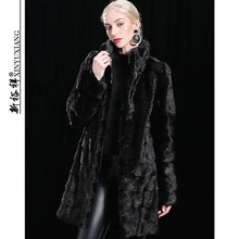 XINYUXIANG Detachable Real Mink fur coat Jackets Women Winter Black Thick warm Long Hooded Natural Genuine mink fur coats Female
